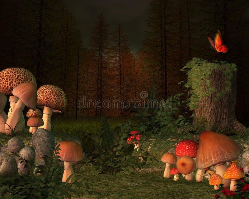 Место леса секретное с волшебными грибами иллюстрация вектора