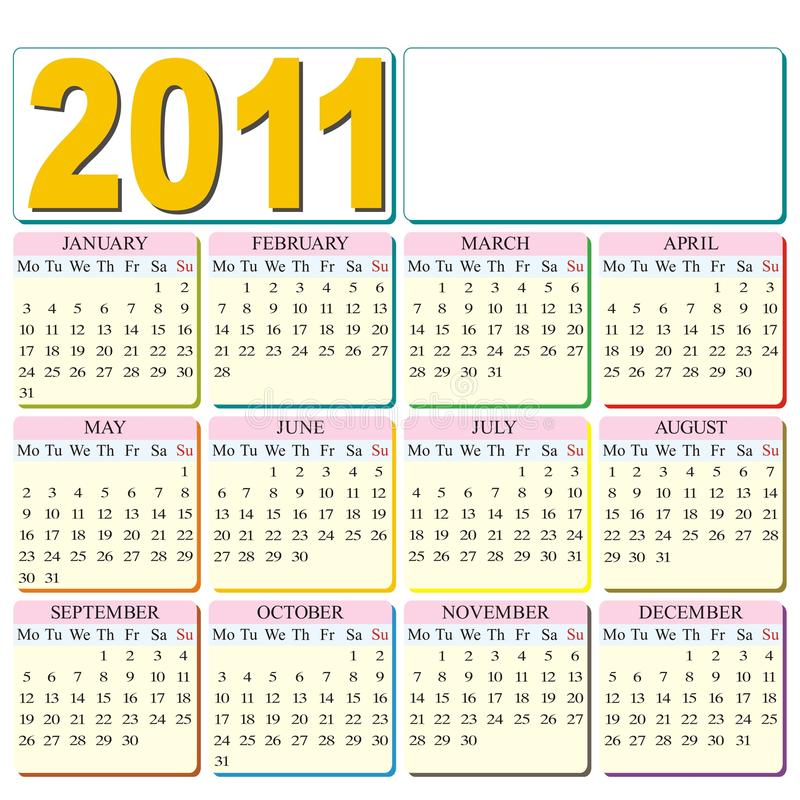 место логоса 2011 календара ваше иллюстрация штока