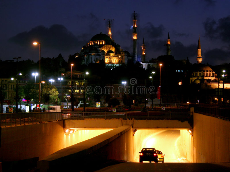 Место ночи Стамбула стоковое фото