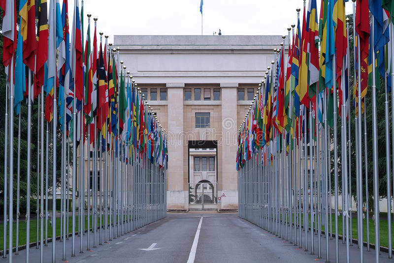 Место Организации Объединенных Наций в Женеве стоковое изображение rf