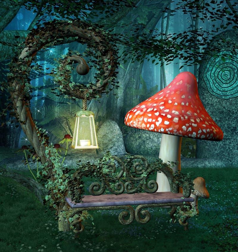 Место отдыха в волшебном лесе иллюстрация штока