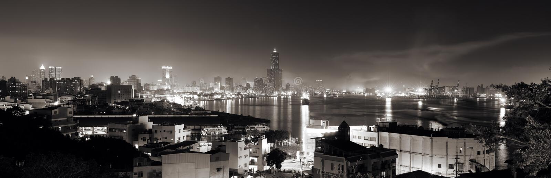 место панорамы ночи города стоковое изображение