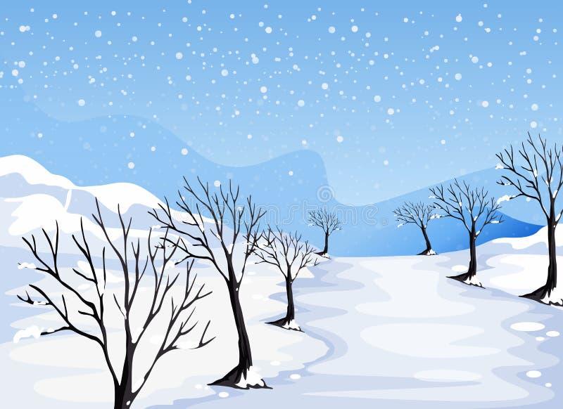 Место покрытое с снегом иллюстрация вектора
