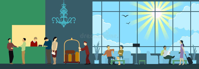 место приема гостиницы нутряное бесплатная иллюстрация