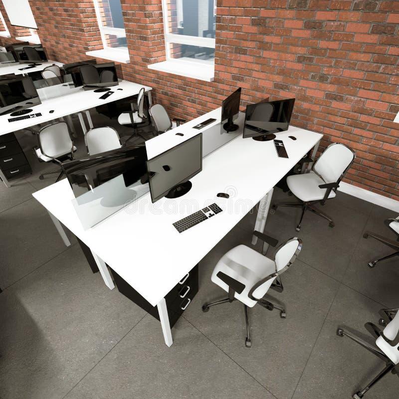 Место работы пустого современного офиса внутреннее бесплатная иллюстрация