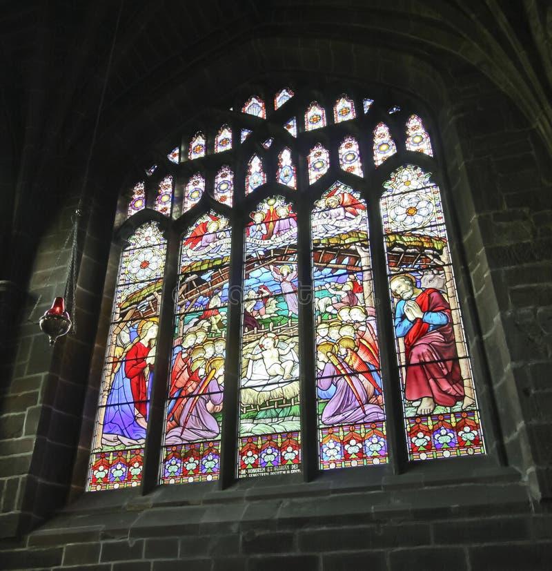 Место рождества окна собора цветного стекла стоковые изображения rf