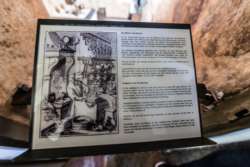 Место рождения Mozarts Geburtshaus ` s Mozart в Зальцбурге, Австрии стоковое изображение