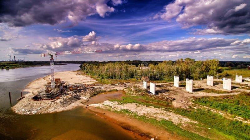Место строительства моста в Варшаве стоковые фото