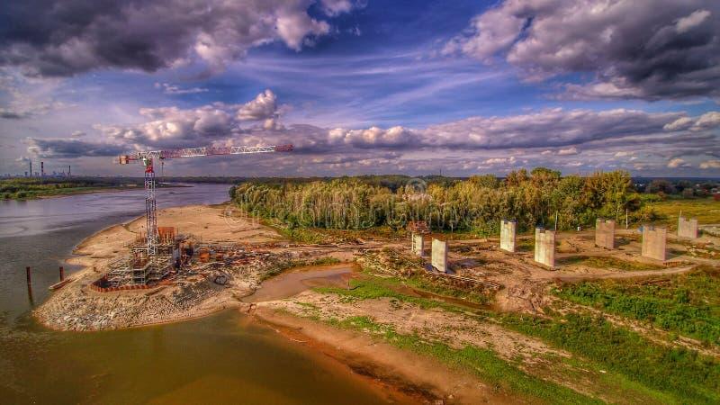 Место строительства моста в Варшаве стоковое фото