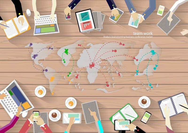 Место для работы вектора для деловых встреч и метода мозгового штурма Традиционные концепции и знамена сети, печатные СМИ и перед бесплатная иллюстрация