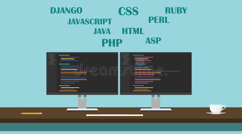 Место для работы языка программирования разработчика вебсайта сети иллюстрация вектора