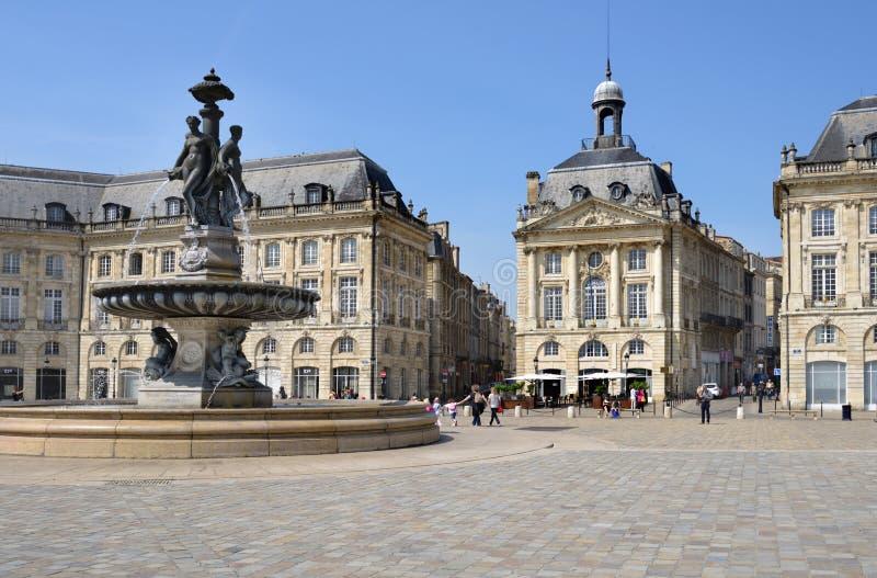 Место de Ла Фондовая биржа в Бордо, Франции стоковое изображение rf