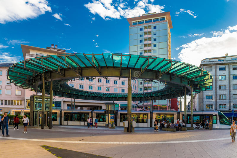 Место de l'Homme de Fer трамвайной остановки в страсбурге стоковое изображение rf