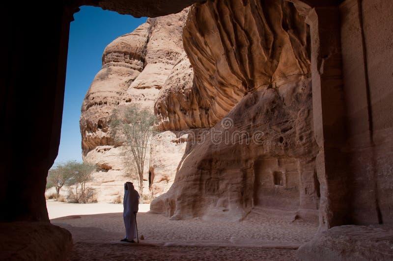 Место Madaîn Saleh археологическое в Саудовской Аравии стоковая фотография