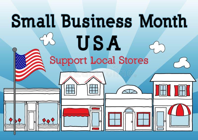 Месяц мелкого бизнеса, США, поддерживает местные магазины иллюстрация вектора