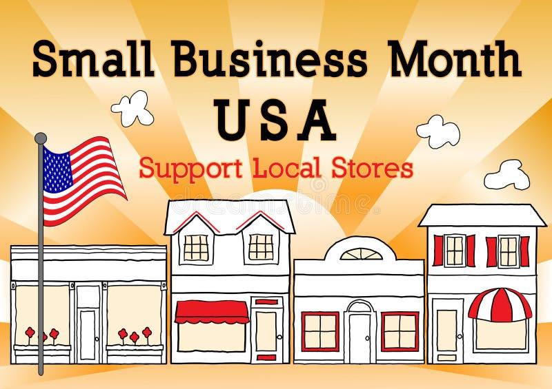 Месяц мелкого бизнеса, США, поддерживает местные магазины иллюстрация штока
