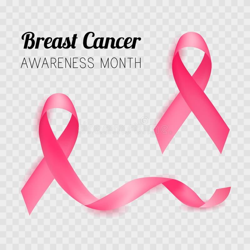 Месяц осведомленности рака молочной железы розовая тесемка вектор бесплатная иллюстрация