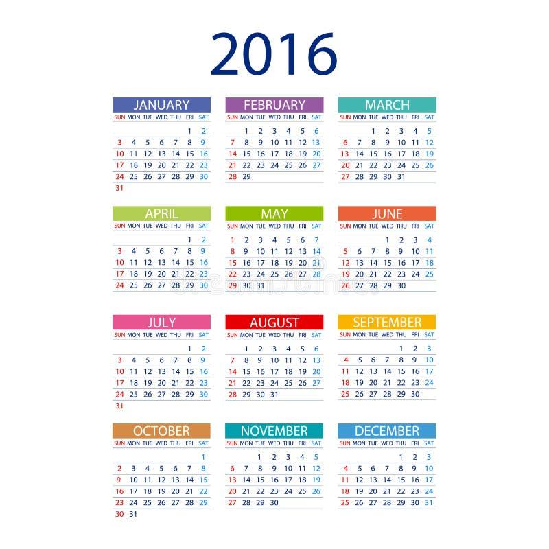 месяц шаблона даты вектора простого дизайна 2016 календарей иллюстрация штока