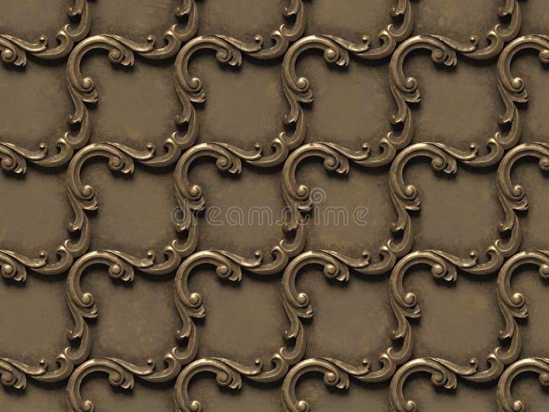 металлическая картина барельеф безшовных текстур, состоя из различных элементов архитектурноакустических орнаментов иллюстрация штока