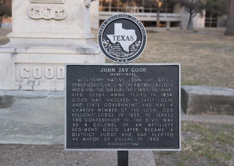 Металлическая пластинка информации, могила Джона Джэй хорошая в пионерском кладбище, Далласе, Техасе стоковая фотография rf