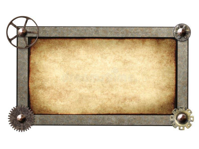Металлическая рамка с винтажными шестернями и cogwheel машины стоковые изображения