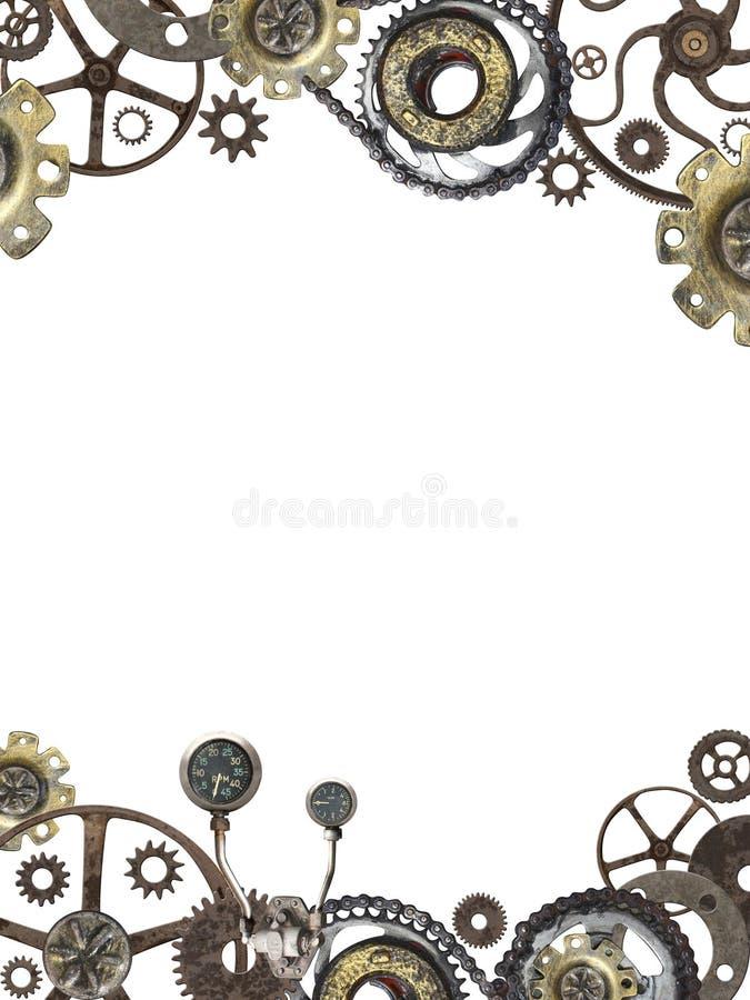 Металлическая рамка с винтажными шестернями и cogwheel машины стоковые фотографии rf