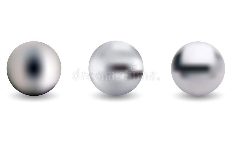 Металлическая сфера хрома над белой предпосылкой иллюстрация штока