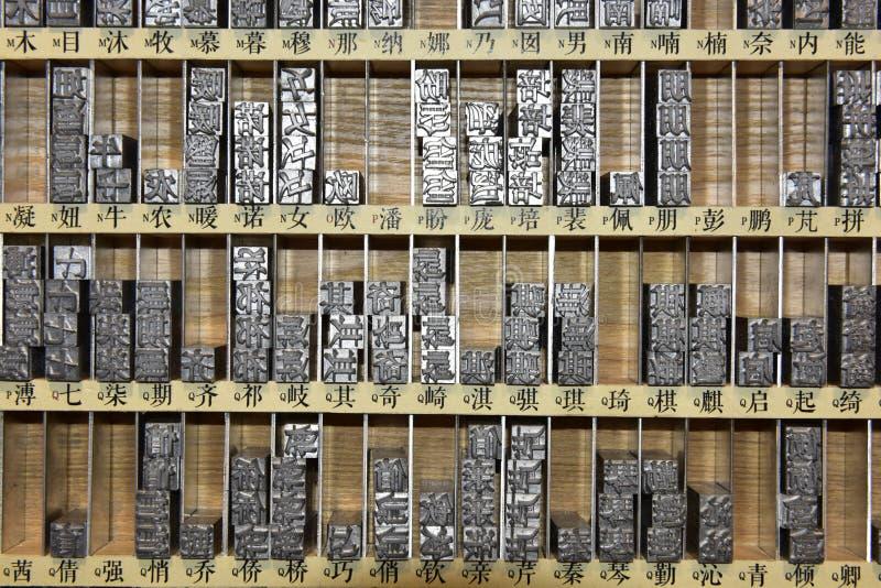 Металлические буквы Китая в коробке стоковая фотография