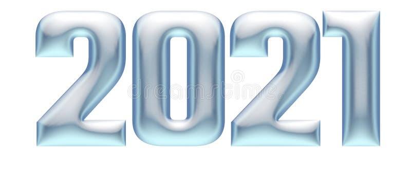Металлические выбитые номера, алфавит, Новый Год 2021, иллюстрация 3d иллюстрация вектора