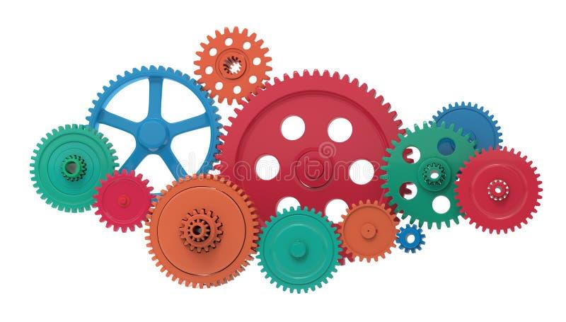 Металлические шестерни и cogs, иллюстрация вектора
