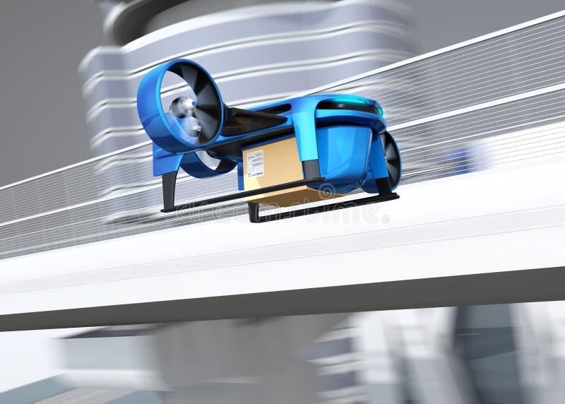 Металлический голубой VTOL трутень с поставкой упаковывает летание около автодорожного моста бесплатная иллюстрация