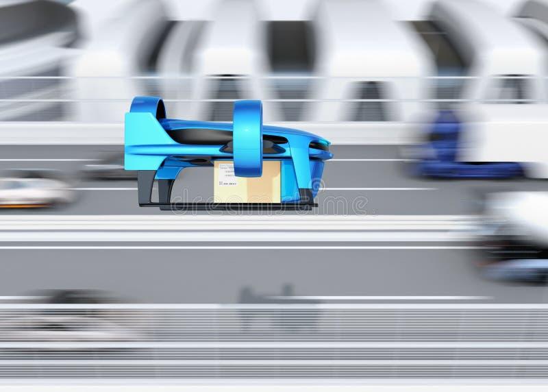 Металлический голубой VTOL трутень с поставкой упаковывает летание около автодорожного моста иллюстрация штока