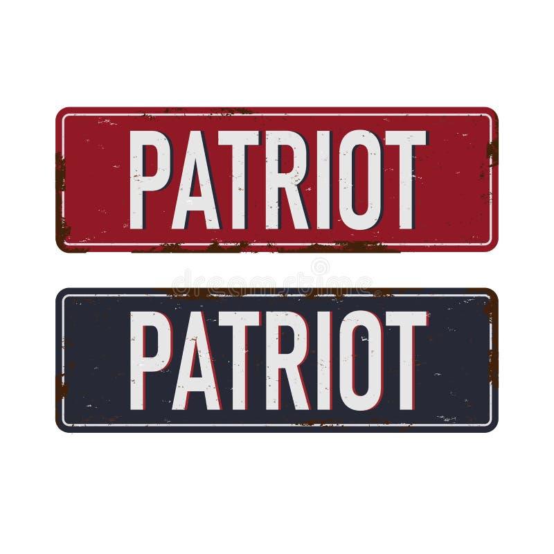 Металлический знак Vintage Patriot - Вектор EPS10 Эффекты гранжа можно легко удалить иллюстрация вектора