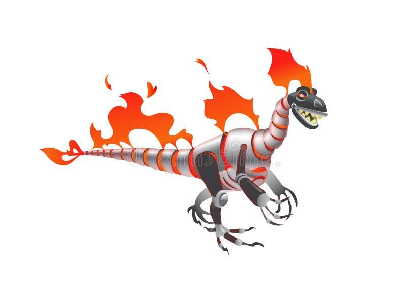 Металлический изолированный динозавр хищника робота стоковая фотография rf