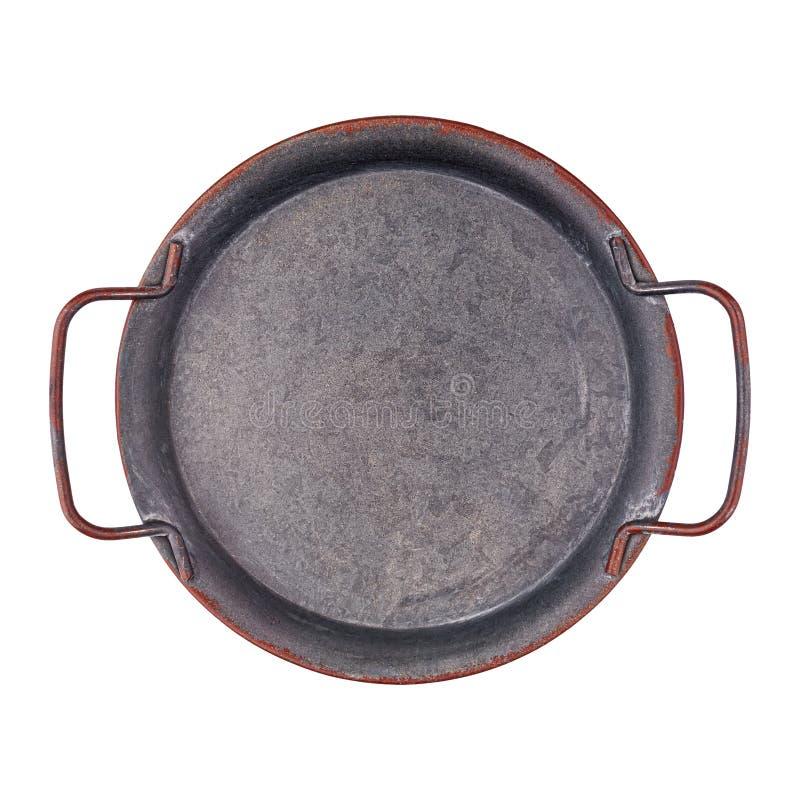 Металлический пустой лоток с изолированным видом сверху стоковые фотографии rf