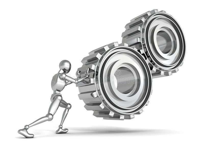 Металлический человек персоны нажимает тяжелые шестерни иллюстрация вектора