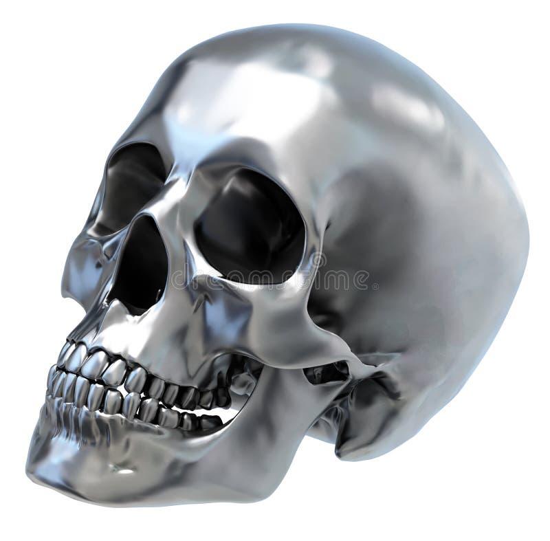 металлический череп иллюстрация вектора