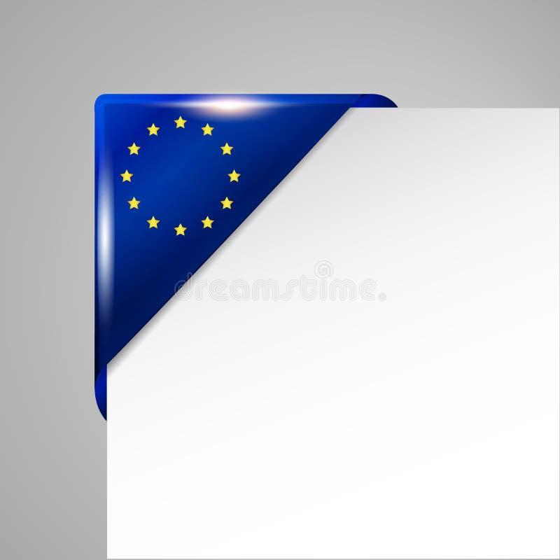 Металлическим иллюстрация вектора флага ЕС изолированная углом иллюстрация вектора