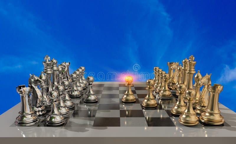 Металлическое и доска шахмат золотое со всеми пешками и сражением как раз начинают - перевод 3d иллюстрация вектора