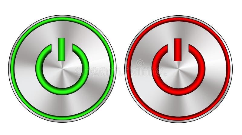 Металлическо на и с кнопке с светами водить иллюстрация штока