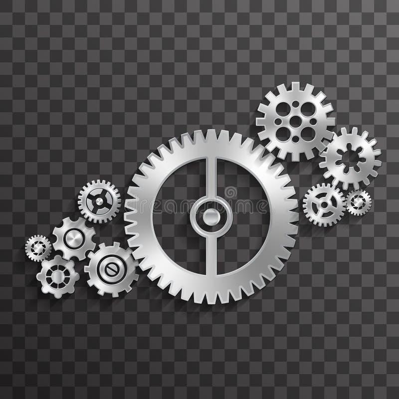 металлопередачи колеса абстрактные прозрачные фон декора концепция кРиллюстрация вектора