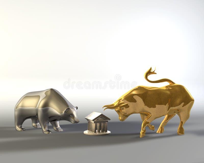 металл быка медведя золотистый стоковые изображения