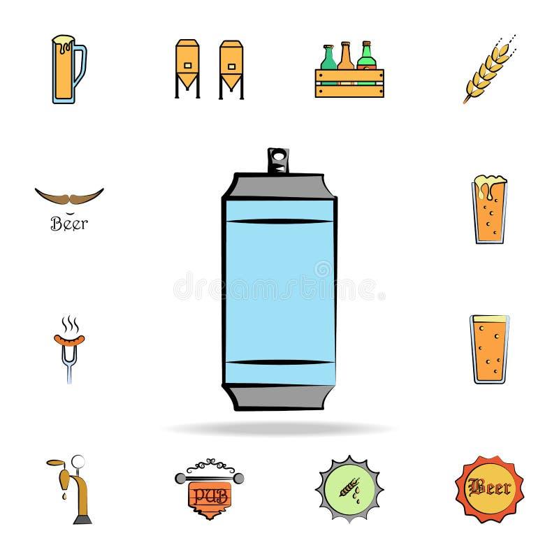 металл может покрашенный значок стиля эскиза Детальный набор пива цвета в значках стиля руки вычерченных Наградной графический ди иллюстрация штока
