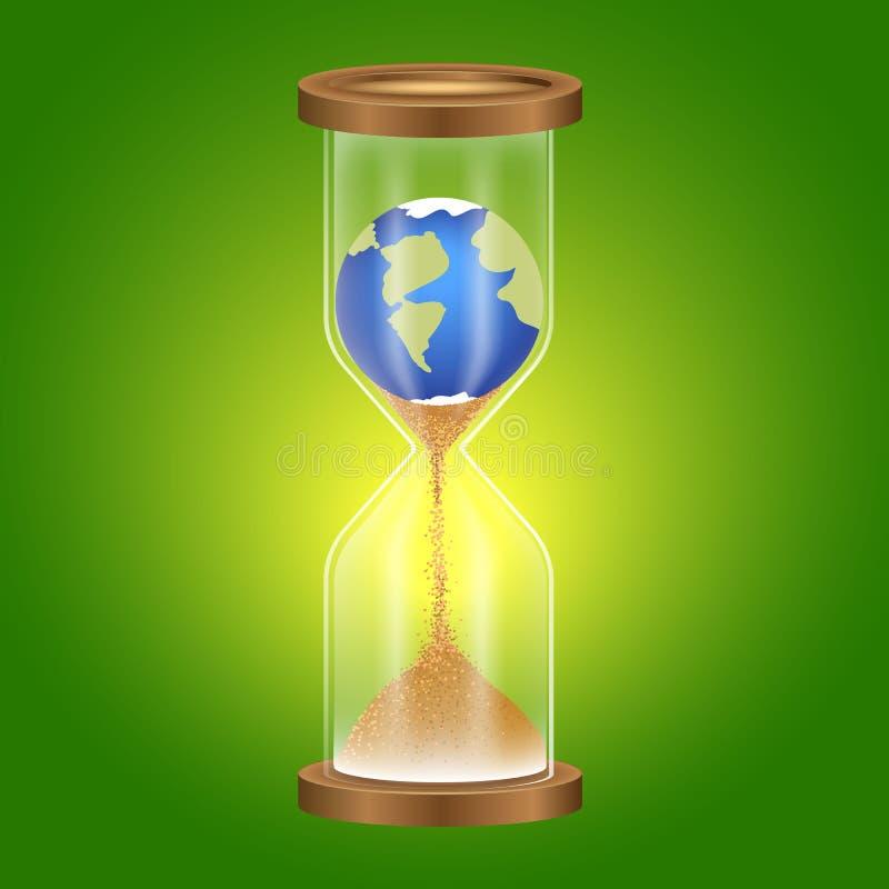 Метафора, время земли теряет силу, ориентация потребителя к природе hourglass иллюстрация вектора