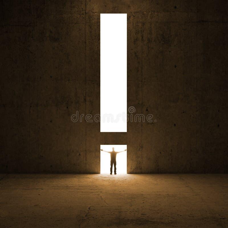 Метафора разрешения. Человек стоит в свете стоковая фотография rf