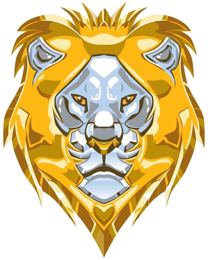 Металлическая иллюстрация вектора головы льва золота и серебра иллюстрация вектора