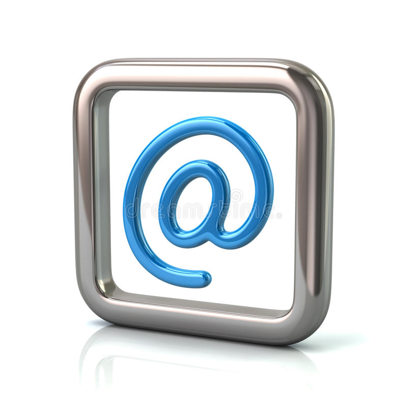 Металлическая округленная квадратная рамка с голубым значком электронной почты бесплатная иллюстрация
