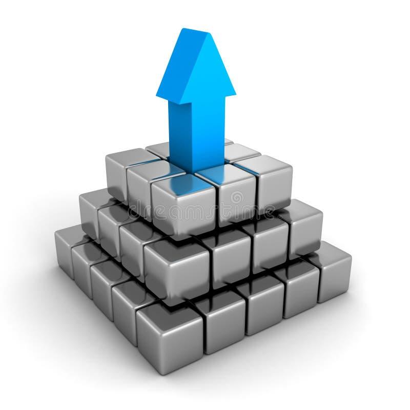 Металлическая пирамида с голубой стрелкой верхней части руководителя Руководство успеха иллюстрация вектора