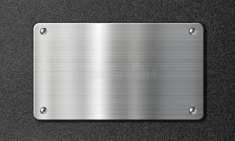 Металлическая пластина нержавеющей стали на черной текстуре иллюстрация вектора