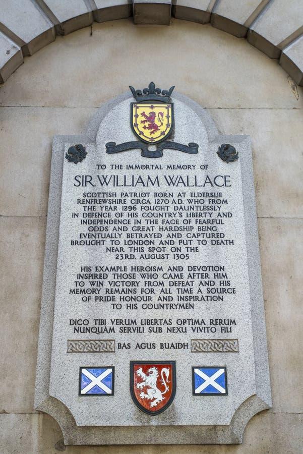 Металлическая пластинка господина Уильям Уоллес в Лондоне стоковые изображения